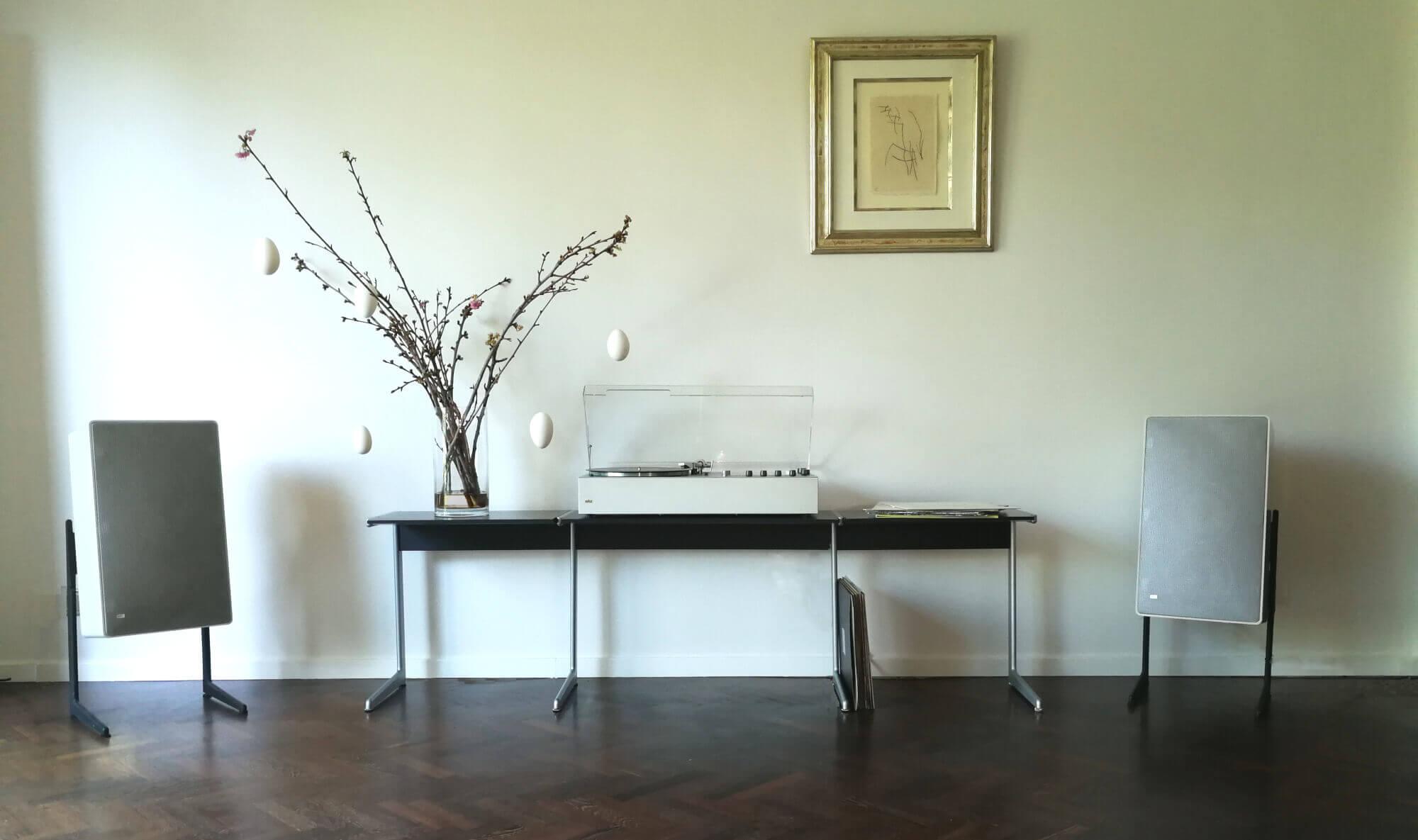 braun audio 310 white & kangaroo & L 710 with LF700 speakerstands